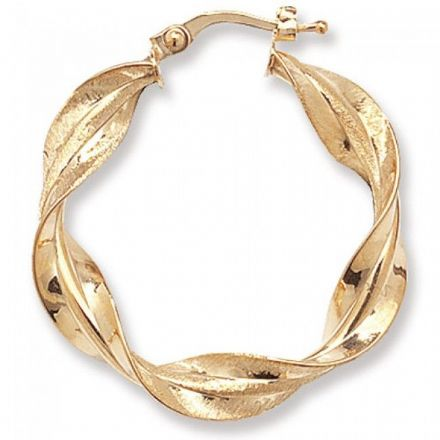 Just Gold Earrings -9Ct Twisted Hoop, ER660